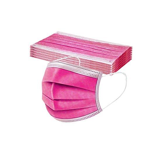 DIAU 10-100 Stück Erwachsene Einweg Mundschutz Multifunktionstuch, 3-lagig Mode Maske,Weiche Staubdicht Atmungsaktive Vlies Mund-Nasenschutz Bandana Halstuch (Pink)