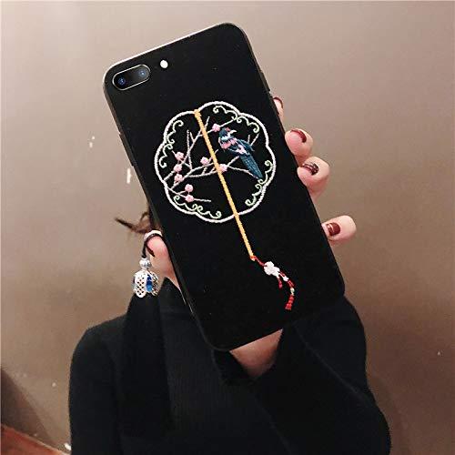 MFKW Geborduurde mobiele telefoon geval Apple hof stijl doek patroon retro magpie ventilator siliconen anti-fall, oude stijl Yanxi Raiders is als een zachte schaal, [Free tassel], 7p / 8plus ancient fan black