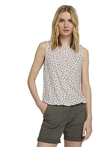 TOM TAILOR Damen 1025797 Feminine Bluse, 26896-Beige Geometrical Design, 38