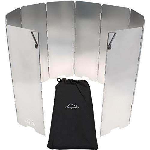 CampTeck U6928 - Parabrisas Cocina Camping Parabrisas Hornillo Camping Gas Plegable Pantalla Camp Stove 10 Piezas de Aluminio Senderismo Picnic