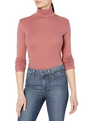 Splendid Women's 1x1 Rib Long Sleeve Turtleneck Tee T-Shirt, Dusty Cedar Pink, S