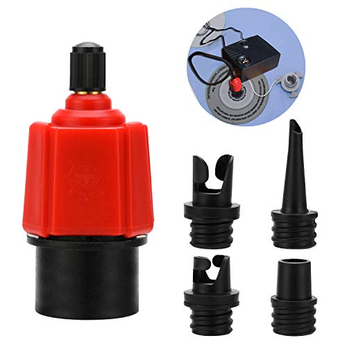 Oumers Adaptador Inflable de la Bomba de Sup Convertidor de la Bomba de Aire, Accesorio de válvula de Aire Convencional de 4 estándares para Bote Inflable, Tabla de Remo de pie, Cama Inflable, etc.