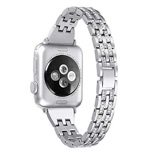 Myada Compatible for Apple Watch Strap 38mm iWatch Strap 40mm Women Girls Slim Diamond Rhinestone Glitter Bling Wrist Strap Metal Bracelet Replacement Strap for iWatch Series 4/3/2/1 38mm/40mm, Silver