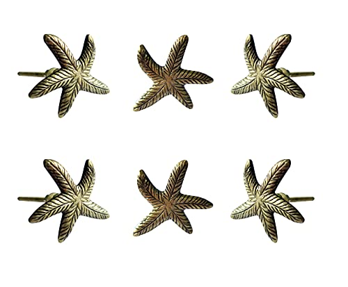 Set of 6 Starfish Knobs Decorative Knobs For Kitchen Cabinet Cupboard Door Dresser Wardrobe and Drawers Pull by Perilla Home (Gold Metal)