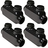 """(Pack of 4) Morris Products Black Insulated in-Line Splice Connector – 2-14 Wire Range, Slotted Allen Hex – 3.46""""L x 0.82""""W x 1.62""""H –Pre-Filled, Easy Entry, Rubber Vinyl Coating, 2 Set Screws"""