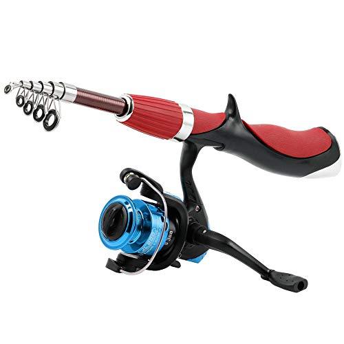 Mini canne à pêche télescopique portable en fibre de...