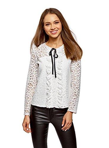 oodji Collection Mujer Blusa de Encaje con Lazos Decorativos