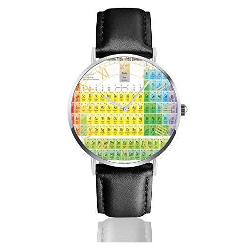 Reloj para Hombre Mesas periódicas imprimibles para química Relojes de Pulsera de Cuarzo de Acero Inoxidable Vintage con Correa de Cuero