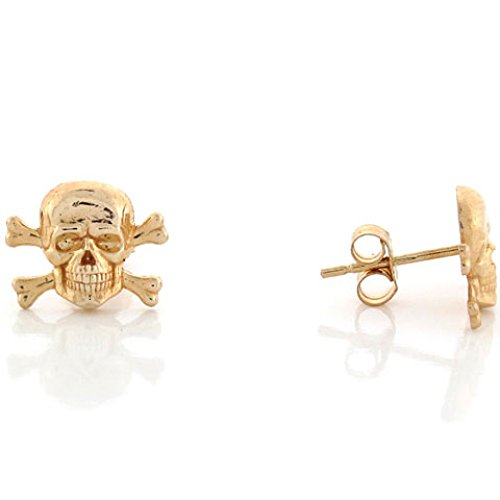10k Yellow Gold 1.1cm Skull and Crossbones Pin Earrings
