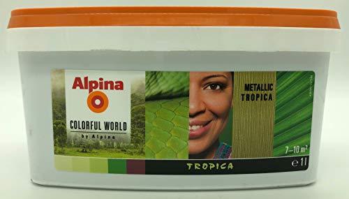 Alpina Colorful Wordl Metallic Effektfarbe faszinierende Metall-Optik Tropica Grün Sanft Glänzend 1 Liter