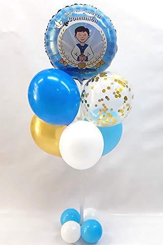 Centro de mesa para comunión formado por globos de látex y poliamida especial para decoración de Comuniones.Tamaño 120 cm (Niño)