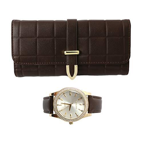 Damen-Armbanduhr, Geldbörse, Geschenkset, Dunkelbraun