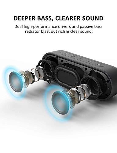 Tribit XSound Go IPX7 - Altavoz Bluetooth con Sonido, Impermeable, 24 Horas, 20M Bluetooth Distancia, Radio Portátil, USB, Negro