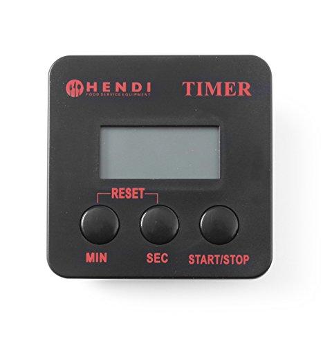 HENDI Digitale Küchenuhr, Kochen Timer, Stoppuhr, Einstellbar Volumen, Inkl. Batterie, Magnetclip, Countdown bis zu 99Min. Und 59Sek, 67x(H)67mm, ABS Kunststoff