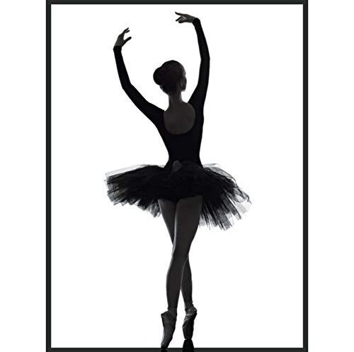 Schwarz Weiß Balletttänzerin Silhouette Schönheit Mädchen Foto Kunstdruck Rahmenlose Poster Wandbild Leinwand Malerei Ballerina Wohnkultur 50x70 cm