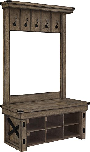 Ameriwood Home Wildwood Wood Veneer Entryway Hall Tree w/ Storage Bench, Rustic Gray