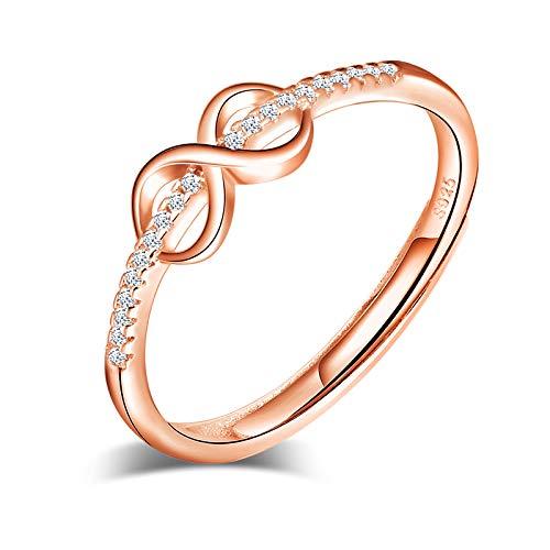 Yumilok Anillo de plata 925, anillo ajustable para mujer y niña, anillo de compromiso abierto con símbolo de infinito, anillo de bodas, tamaño ajustable, incrustaciones de circonita cúbica