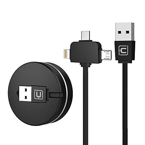 CAFELE Lightning+Micro USB+Type-C ライトニングケーブル USB Type-Cケーブル3in1 充電ケーブル 巻き取り...