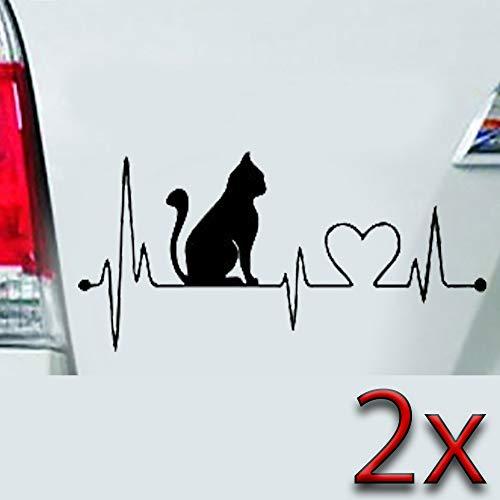 LEON-FOLIEN 2 Aufkleber Herz 17x7,5 cm Herzdiragramm Kardiogramm Katze Autoaufkleber Sticker Autotattoo Wandtattoo Tattoo Tuning Glanz Folie in Schwarz - 2 Stück