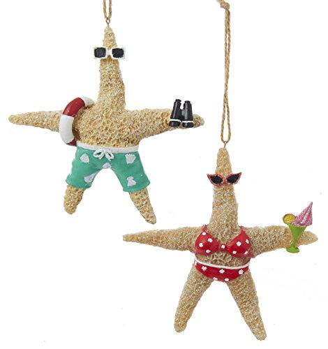 Whimsical Beach Starfish Couple in Swimsuits Christmas Holiday Ornament Set of 2