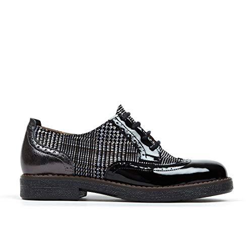 Zapato Embassy Artist, cordones Brogues zapatos de cuero italiano para las mujeres, color Negro, talla 39 EU