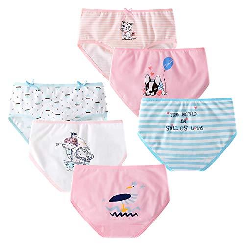 YOUNGSOUL Mädchen Slips Baumwolle Schlüpfer Kinder Unterhosen Katzenmuster Unterwäsche 6er Pack Modell 1/110-116