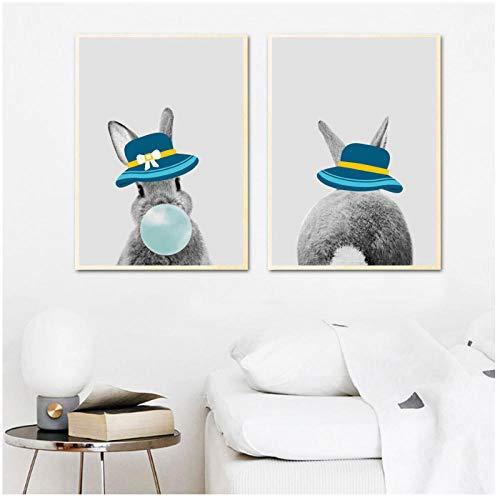 xwwnzdq konijntje blauw blaas hoed muur kunst canvas afbeelding dierenschilderij schilderen bordjes en prints broeibed kinderkamer decoratie 50x70cmx2 zonder lijst