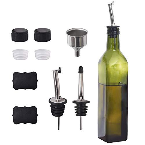 Newk Botella de aceite de oliva, 500 ml de aceite y vinagre cruet con vertedores + embudo, cruet dispensador de aceite de oliva, decantador, jarra para cocina - verde