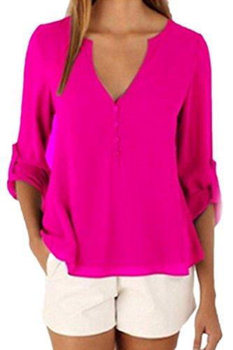 Las Mujeres Verano Casual Cuello V T Shirts Solid Tops Fucsia Plus Size Red M