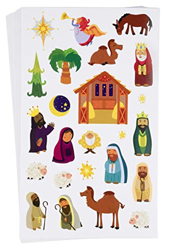Juvale Nativity Stickers - 864-Count Christmas Stickers, Scrapbook Stickers for Kids Christmas Holiday Party Favors, Church, Bible School, 36 Sheets, 8.5 x 5 inches