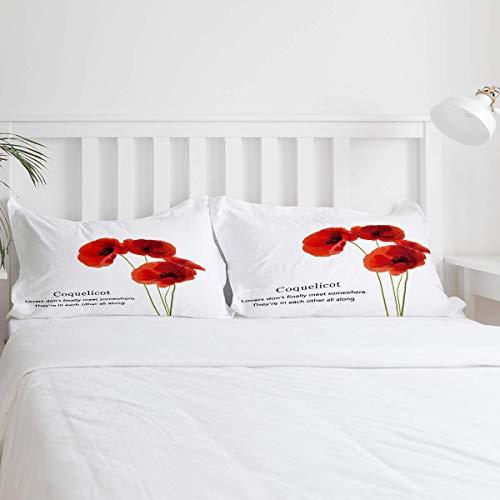 Red Poppy Coquelicot Juego de Funda nórdica de 3 Piezas Juego de sábanas con Funda de edredón Moderno Microfibra hipoalergénica Ultra Suave (1 Funda nórdica y 2 Fundas de Almohada)