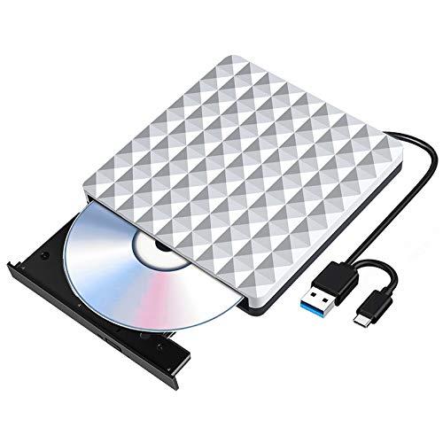 Grabadora CD/DVD Externa USB 3.0 y Tipo C, Unità DVD Portatile Slim RW Row Superdrive Reader por Computadora Portátil, Computadora de Escritorio, iMac, MacBook, iOS, Windows 10/8/7 / XP e Linux