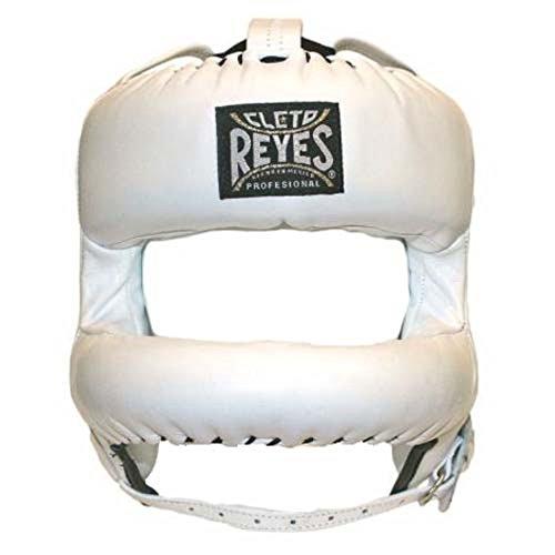 Cleto Reyes Überarbeitete Kopfbedeckung mit abgerundeter Nylon-Gesichtsstange, breiter Platz im Inneren, Weiß