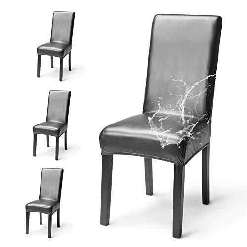 OSVINO 2er/4er Set Stuhlhussen PU Leder Stuhlbezug wasserabweisend Stretch für Haus Büro Restaurant, Schwarz 4 Stücke