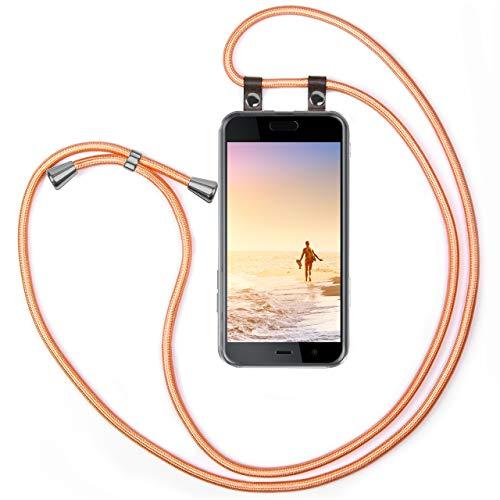 moex Handykette kompatibel mit HTC U Play Hülle mit Band Längenverstellbar, Handyhülle zum Umhängen, Silikon Hülle Transparent mit Kordel Schnur abnehmbar in Rosé Gold