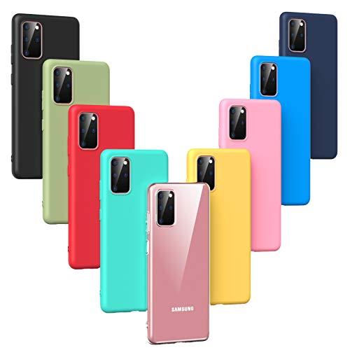 Oududianzi - 9 x Cover per Samsung Galaxy S20 (2020), [Serie Arcobaleno] Custodia Morbida Opaca in Silicone TPU [ Trasparente + Nero + Rosa + Blu Scuro + Rosso + Verde Menta + Giallo + Verde + Blu ]