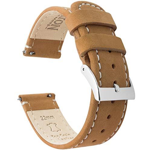 Barton Watch Bands Bracelet De Montre en Cuir Libération Rapide - Choisissez La Couleur Et La Taille Pain D'Épices en Cuir/Lin Blanc Brochage 20mm