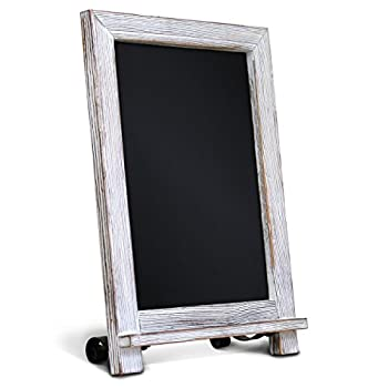 """Rustic Whitewash Tabletop Chalkboard Sign / Hanging Magnetic Wall Chalkboard / Small Countertop Chalkboard Easel / Kitchen Countertop Memo Board / 9.5"""" x 14""""  Weddings Birthdays Baby Announcements"""