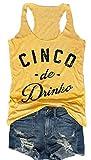 Cinco De Drinko Racerback Tank Women Summer Sleeveless Casual Vest Tops (L, Yellow)