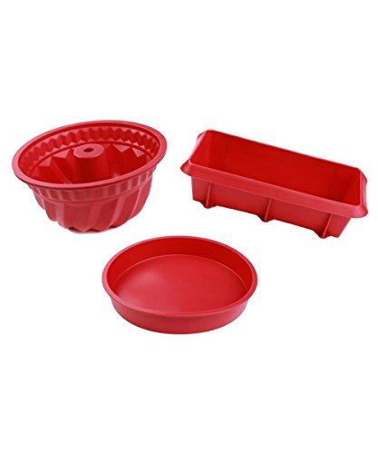 Siliwelt 0004 Lot de 3 moules en silicone pour kouglof, tarte et cake