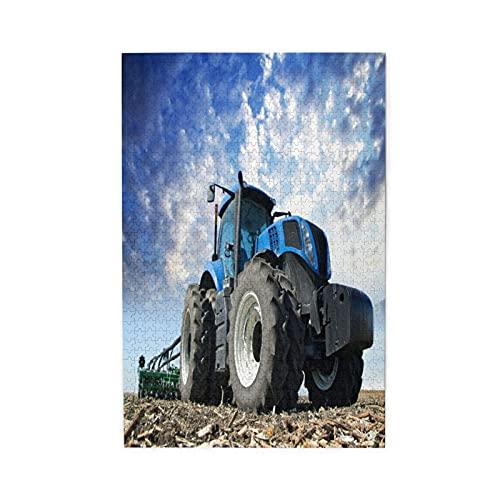 Rompecabezas de Imágenes 1000 Piezas,Las ruedas del tractor gran granjero de campo trabajando en maquinaria agrícola tr,Regalo Ideal Gracioso Juego Familiar Decor Para el Hogar Colgante,19.7' x 29.5'