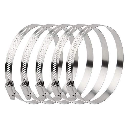 Abrazadera de Manguera, Ajustable Abrazaderas Metalicas Anticorrosión Clips de Fijacción para Mangueras de Agua y Combustible 5 Piezas (91-114)