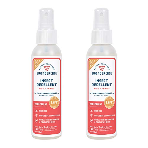 Wondercide - Mosquito, Tick, Fly, and Insect Repellent with Natural Essential Oils - DEET-Free Plant-Based Bug Spray and Killer - Safe for Kids, Babies, and Family - Peppermint 2-Pack of 4 oz Bottle