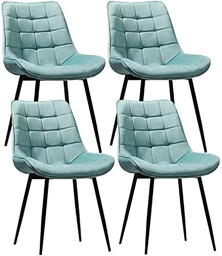 VEESYV Esszimmerstühle Gepolsterter Küchenstuhl Aus Samtsitz Metallbeine Wohnzimmerküche Freizeit Make-up Stuhl (Farbe : Light Blue)