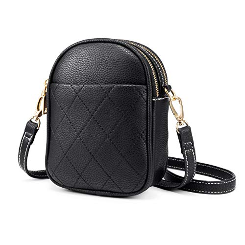 Small Crossbody Bags for Women, Faux Leather Crossbody Purse, Multi-Pockets, Lightweight, Black