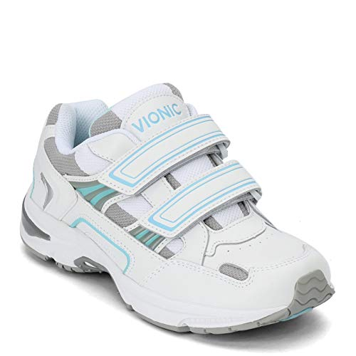 Vionic Tabi Women's Orthotic Walking Shoe White and Blue Leather - 10.5 Medium