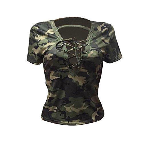 Bluse Damen Camouflage V-Ausschnitt Bandage Oberteil Langarm Hemd Frauen Casual Lose Langarmshirt T-Shirt