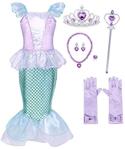 HenzWorld Girls Dresses Mermaid Costume Princess Role Pretend Gloves Jewelry Accessories Birthday Party Cosplay Outfit Ruffle Fish Scale Tails Skirt Blue Little Girls 7-8 Years