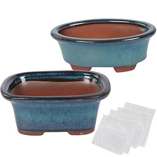 Happy Bonsai - Juego de 2 macetas esmaltadas pequeñas y 4 pantallas de drenaje de malla suave.