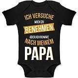 Shirtracer Sprüche Baby - Ich versuche Mich zu benehmen Papa orange - 6/12 Monate - Schwarz - Baby Strampler mädchen Papa - BZ10 - Baby Body Kurzarm für Jungen und Mädchen